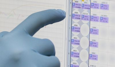 FILE - In this Thursday, Feb. 4, 2016, file photo, a medical researcher uses a monitor that shows the results of blood tests for various diseases, including Zika, at the Gorgas Memorial laboratory in Panama City. On Thursday, April 28, 2016, the U.S. Food and Drug Administration authorized Quest Diagnostics to offer the first commercial test for the Zika virus in the United States. Previously, Zika tests were only available through a handful of government-designated laboratories. Quest said the commercial test could be available as early as the first week of May. (AP Photo/Arnulfo Franco, File)