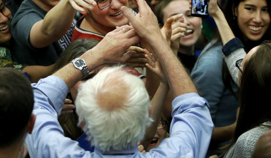 Democratic presidential candidate, Sen. Bernie Sanders, I-Vt, works the crowd after a campaign event Sunday, May 1, 2016, in South Bend, Ind. (AP Photo/Charles Rex Arbogast)