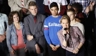 Carly Fiorina, Republican presidential candidate Sen. Ted Cruz' pick for vice president, speaks after being introduced during a campaign rally in Lafayette, Ind., Sunday, May 1, 2016. (AP Photo/AJ Mast)