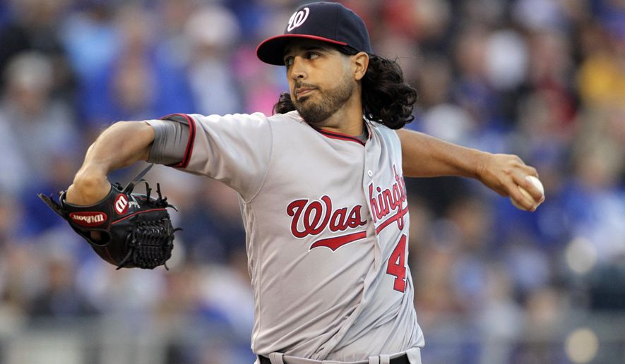 Washington Nationals pitcher Gio Gonzalez throws in the first inning of a baseball game against the Kansas City Royals at Kauffman Stadium in Kansas City, Mo., Monday, May 2, 2016. (AP Photo/Colin E. Braley)