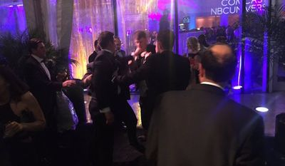 A fight reportedly broke out between Fox News' Jesse Watters and The Huffington Post's Ryan Grim during MSNBC's afterparty following the White House Correspondents' Association dinner. (Twitter/@daveweigel)