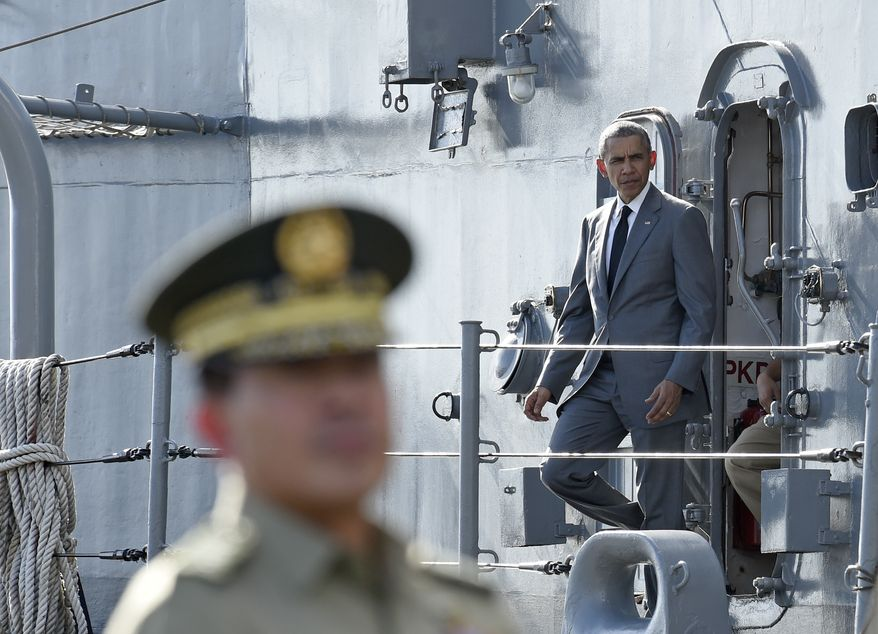 U.S. President Barack Obama tours the BRP Gregorio del Pilar ship in Manila, Philippines, Tuesday, Nov. 17, 2015. The BRP Gregorio del Pilar is an advanced Philippine Navy frigate once owned by the United States. While in Manila, Obama will attend the Asia-Pacific Economic Cooperation summit with nearly two dozen other leaders. (AP Photo/Susan Walsh)