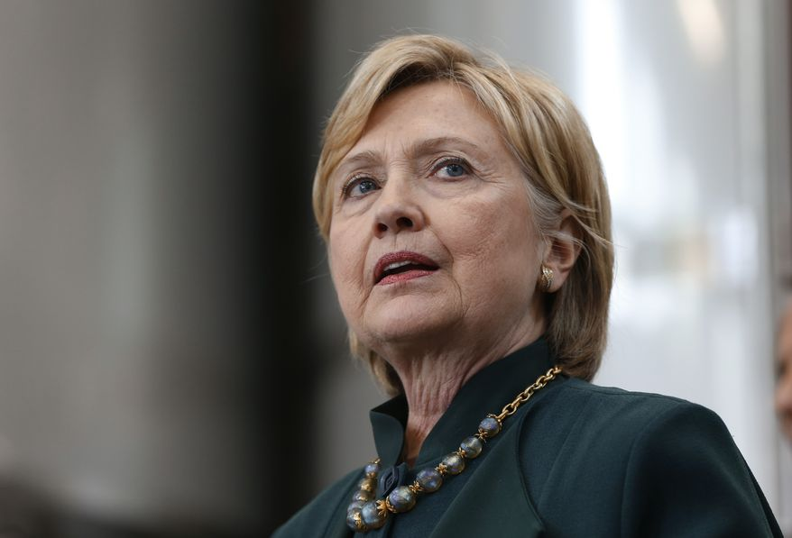 Democratic presidential candidate Hillary Clinton speaks during a campaign stop at Jackie O's Production Brewery and Tap Room in Athens, Ohio, Tuesday, May 3, 2016. (AP Photo/Paul Sancya)