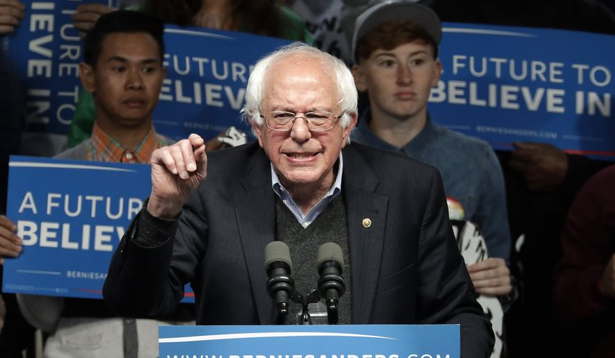 Democratic presidential candidate, Sen. Bernie Sanders, I-Vt., speaks during a campaign rally Tuesday, May 3, 2016, in Louisville, Ky. (AP Photo/Charlie Riedel)