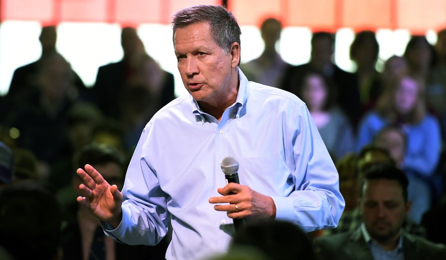 Ohio Gov. John Kasich, Republican presidential candidate, speaks at a town hall meeting in Portland, Ore., on April 28, 2016. (Associated Press)