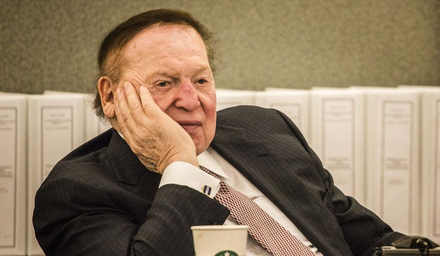 Las Vegas Sands Corp. Chairman and CEO Sheldon Adelson testifies at Clark County Justice Center on Tuesday, April 28, 2015, in Las Vegas. Steven Jacobs, former president of Sands Macau, is suing Sands China and Las Vegas Sands Corp. over a wrongful termination case. (Jeff Scheid/Las Vegas Review-Journal via AP, Pool)