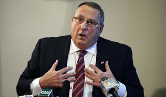 FILE - In this Jan. 8, 2016 file photo, Maine Gov. Paul LePage speaks at a news conference at the State House, in Augusta, Maine. A federal judge on Tuesday, May 3, 2016, dismissed a lawsuit accusing LePage of using blackmail to force a charter school operator to rescind a job offer to a political opponent in a flap that roiled the Legislature and led to an impeachment effort. (AP Photo/Robert F. Bukaty, File)