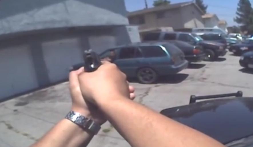 Body camera image from police in Rialto, California.