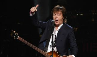 In this Oct. 22, 2015, file photo, Paul McCartney performs at First Niagara Center, in Buffalo, N.Y. Goldenvoice announced Tuesday, May 3, 2016, that the Rolling Stones, Bob Dylan, McCartney, Neil Young, Roger Waters and the Who will perform during a three-day concert at the desert grounds where the annual Coachella music festival is held. (AP Photo/Gary Wiepert, File)