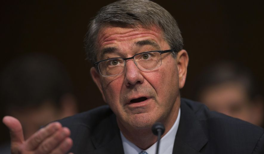 In this April 28, 2016, file photo, Defense Secretary Ashton Carter testifies on Capitol Hill in Washington. (AP Photo/Evan Vucci, File)