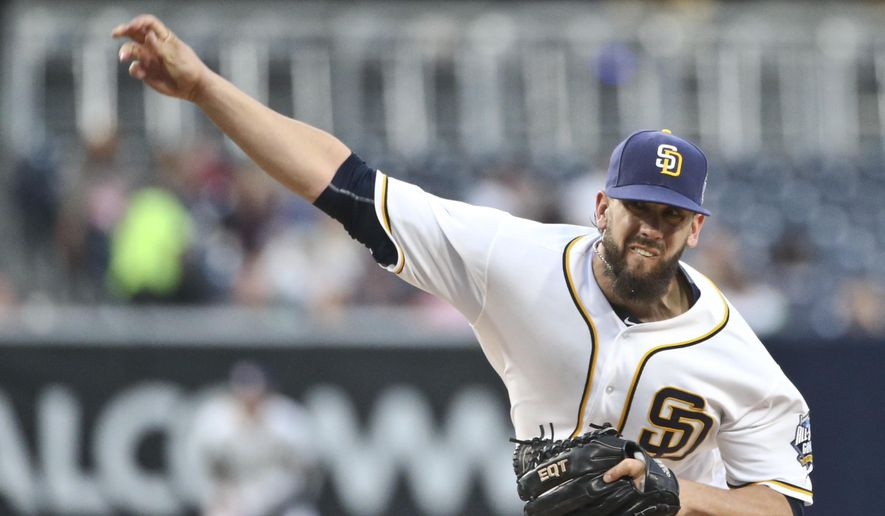 San Diego Padres starting pitcher James Shields throws against the Colorado Rockies in the first inning of a baseball game Monday, May 2, 2016, in San Diego. (AP Photo/Lenny Ignelzi)
