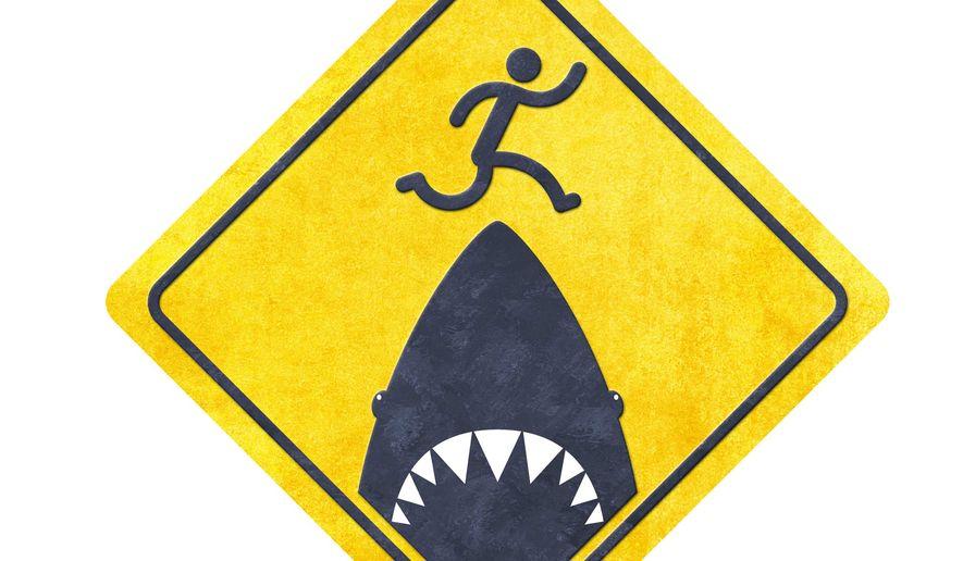 Warning: Shark Jumping Area Illustration by Greg Groesch/The Washington Times