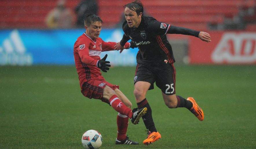 30 April 2016: Chicago Fire midfielder Michael Stephens (26) attempts to stop D.C. United midfielder Jared Jeffrey (25) during a game between D.C. United and the Chicago Fire at Toyota Park in Bridgeview, IL. (Photo by Patrick Gorski/Icon Sportswire) (Icon Sportswire via AP Images)