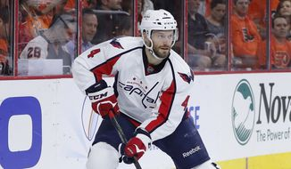 Washington Capitals' Taylor Chorney in action during Game 4 in the first round of the NHL Stanley Cup hockey playoffs against the Philadelphia Flyers, Wednesday, April 20, 2016, in Philadelphia. (AP Photo/Matt Slocum)