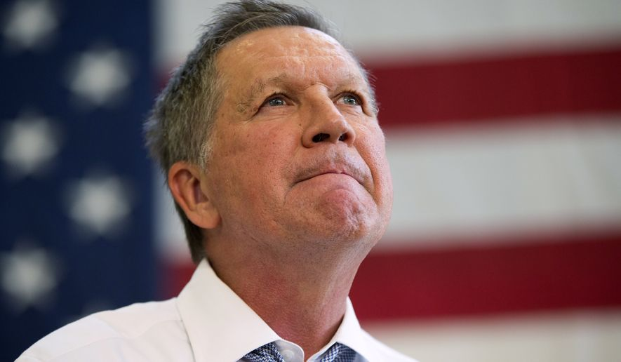 """""""I have always said that the Lord has a purpose for me as he has for everyone, and as a suspend my campaign today, I have renewed faith, deeper faith, that the Lord will show me the way forward and fulfill the purpose of my life,"""" Ohio Gov. John Kasich said on May 4, 2016. (Associated Press) ** FILE **"""