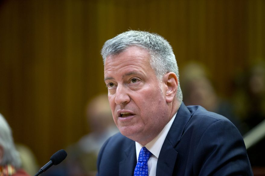 New York City Mayor Bill de Blasio testifies during a state Senate Education Committee hearing on extending mayoral control of city schools in Albany, N.Y., on May 4, 2016. (Associated Press) **FILE**
