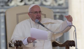 Pope Francis delivers his speech during his weekly general audience, in St. Peter's Square, at the Vatican,  Wednesday, May 4, 2016. (AP Photo/Andrew Medichini)