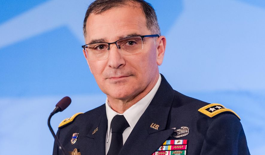NATO's supreme allied commander Europe U.S. Army General Curtis M. Scaparrotti addresses the media after a change of command ceremony at NATO military headquarters in Mons, southern Belgium on Wednesday May 4, 2016. U.S. Army General Curtis  M. Scaparrotti was installed as NATO's 18th supreme allied commander Europe (SACEUR). The commander, by tradition an American general or admiral, is responsible for the overall direction and conduct of NATO's global military operations. (AP Photo/Geert Vanden Wijngaert)