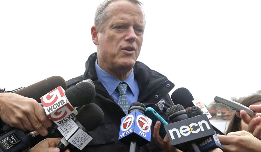 Mass. Gov. Charlie Baker speaks to members of the media, Wednesday, May 4, 2016, in Boston. Baker reiterated that he will not vote for Donald Trump in November and told reporters that he now believes Trump will be his party's nominee after Trump won Tuesday's Indiana primary. (AP Photo/Elise Amendola)