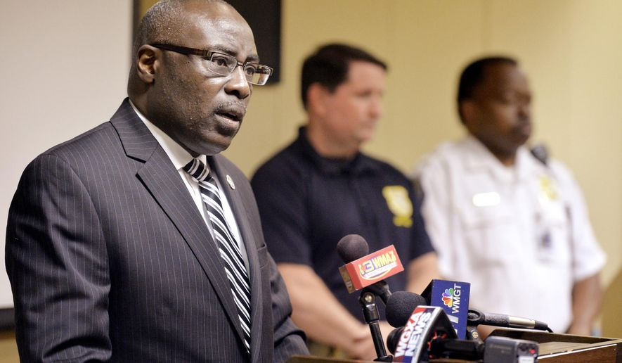 Fort Valley State University President Paul Jones speaks during a news conference on the stabbing death of freshman student Donnell M. Phelps in Fort Valley, Ga., Wednesday, May 4, 2016.  Joseph Anthony Scott, 24, fatally stabbed Phelps and wounded campus public safety officer Ernest Johnson. (Jason Vorhees/The Telegraph via AP)