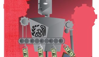 Illustration on increasing government involvement in tax filing by Linas Garsys/The Washington Times