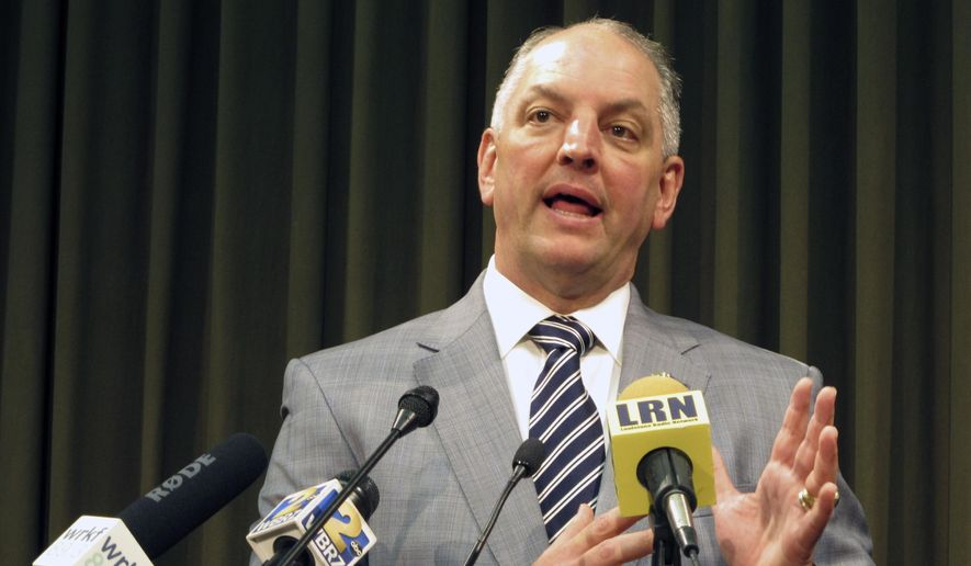 In this file photo, Gov. John Bel Edwards talks about the state's budget and his plans to call a special session for June to try to raise revenue to stave off cuts, on Thursday, May 5, 2016, in Baton Rouge, La. (AP Photo/Melinda Deslatte)