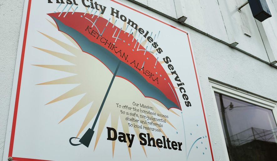 This May 3, 2016 photo shows the sign of the First City Homeless Services in Ketchikan, Alaska.  Cruise ship passengers have been hanging out at an Alaska homeless shelter to get free coffee and a bite to eat, but few have bothered making a donation, said one of the nonprofit's board members. (Nick Bowman/Ketchikan Daily News via AP)