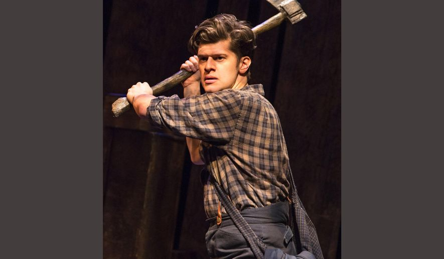 """This image released by Polk and Co. shows James Ortiz during a performance of """"The Woodsman."""" Ortiz is one of many actor-playwrights currently performing on the New York stage. Others include, Lin Manuel Miranda in """"Hamilton,"""" Seth Rudetsky in """"Disaster!"""", and Kate Hamill in """"Sense and Sensibility."""" (Matthew Murphy/Polk and Co. via AP)"""