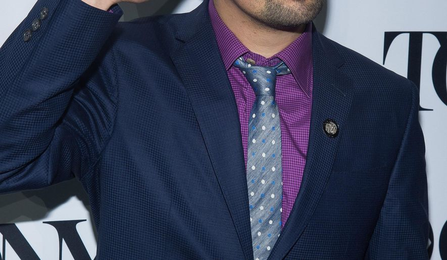 """Lin-Manuel Miranda attends the 2016 Tony Awards """"Meet the Nominees"""" press junket at the Paramount Hotel on Wednesday, May 4, 2016, in New York. Miranda is nominated for several awards including, best original score, best book of a musical and best performance by an actor in a leading role in a musical for, """"Hamilton."""" (Photo by Charles Sykes/Invision/AP)"""