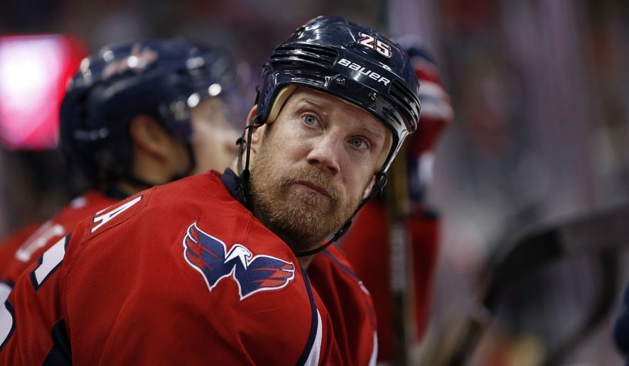Washington Capitals left wing Jason Chimera (25) sits on the bench in the second period of an NHL hockey game against the New York Islanders, Tuesday, April 5, 2016, in Washington. (AP Photo/Alex Brandon)