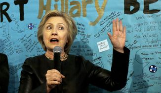 Democratic presidential candidate Hillary Clinton speaks at her campaign field office in Oakland, Calif., Friday, May 6, 2016. (AP Photo/Jeff Chiu)