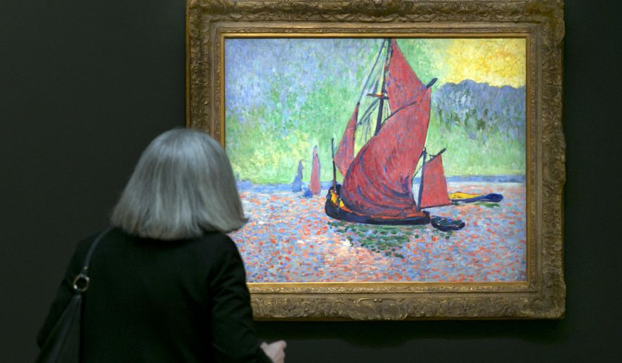 """In this Friday, March 29, 2016 photo, Andre Derain's """"Red Sails"""" is viewed during the spring auction preview at Sotheby's, in New York. On Monday, May 9, 2016,  Sotheby's offers Derain's painting for an estimated $15 million to $20 million, one of the two Fauve works. (AP Photo/Richard Drew)"""