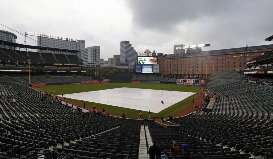 Storm clouds roll over Oriole Park at Camden Yards before a baseball game between the Oakland Athletics and the Baltimore Orioles in Baltimore, Friday, May 6, 2016. The game was postponed due to inclement weather and rescheduled for Saturday. (AP Photo/Patrick Semansky)
