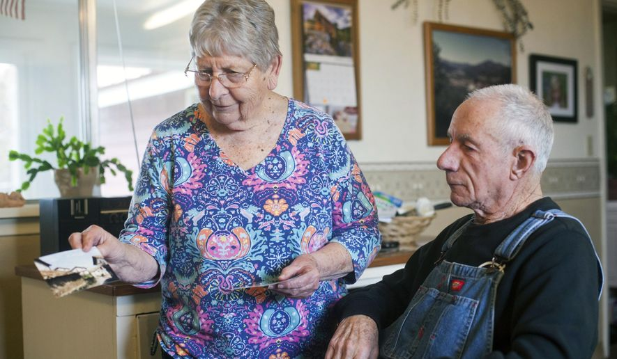 ADVANCE FOR WEEKEND EDITIONS MAY 7-8 - In this March 22, 2016 photo, Juan and Beverly Irigoyen in their home in Jackson, Idaho. The memories of a few remaining first-generation immigrants illuminate the classic Basque experience in Idaho. Juan Irigoyen lives in Mini-Cassia's Jackson area with his wife, Beverly. The property is huge, with land they lease to people who grow potatoes, beets and grain.  (Stephen Reiss/The Times-News via AP) MANDATORY CREDIT