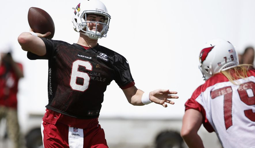 Arizona Cardinals quarterback Jake Coker (6) throws a pass as he is pressured by defensive tackle Jordan Nielsen, right, during the team's NFL football rookie camp practice Friday, May 6, 2016, in Tempe, Ariz. (AP Photo/Ross D. Franklin)