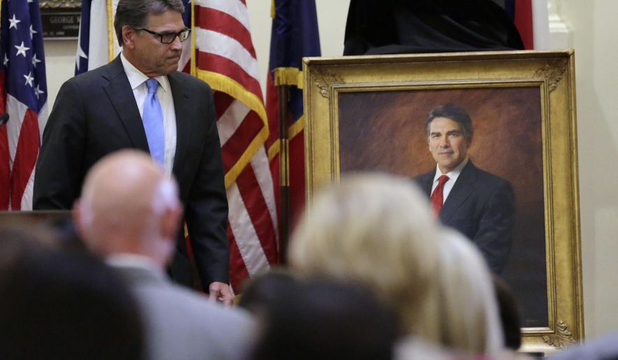 Former Texas Gov. Rick Perry attends a ceremony for the unveiling of his official portrait in the Capitol rotunda, Friday, May 6, 2016, in Austin, Texas. (AP Photo/Eric Gay)
