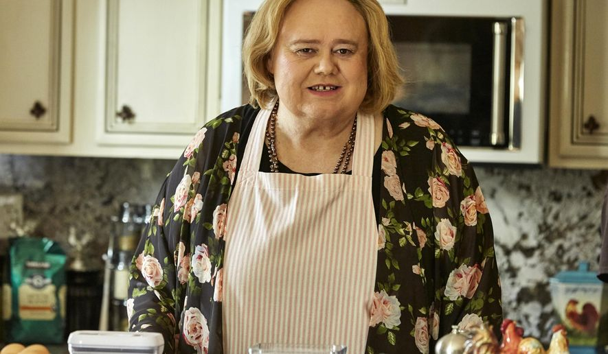 """In this image released by FX, Louie Anderson portrays Christine Baskets in a scene from the comedy series, """"Baskets."""" Anderson's character is inspired by his late mother, Orazella, with touches of the five sisters he grew up with. The role has given him a new appreciation of motherhood. (Ben Cohen/FX via AP)"""