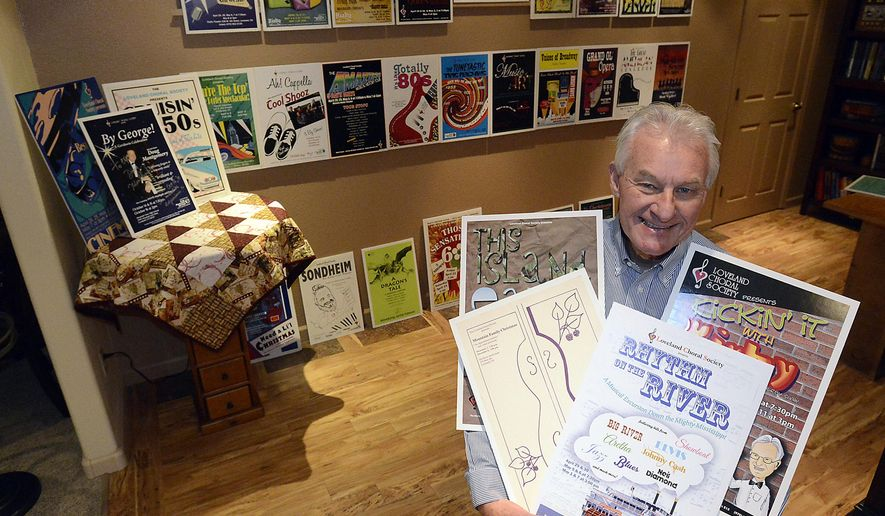 In this photo taken Thursday, April 21, 2016, Cliff Schultz poses in his home in Loveland, Colo., near a wall of posters from the performances the Loveland Chorale Society has done since he took over 25 years ago. (Jenny Sparks/ Loveland Reporter-Herald via AP) NO SALES; MANDATORY CREDIT