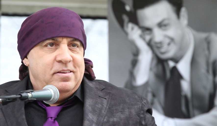 Steven Van Zandt of the E Street Band delivered the keynote address at the re-interment party for Alan Freed, a seminal figure in the history of modern music, at Lake View Cemetery in Cleveland on Saturday, May 7, 2016. (Chuck Crow/The Plain Dealer via AP)