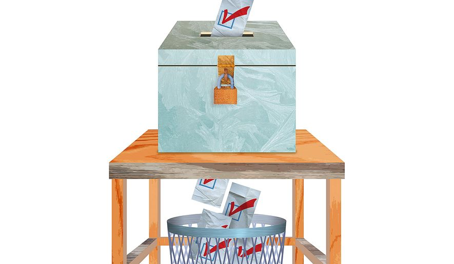 Illustration on the flaws in the GOP primary process by Greg Groesch/The Washington Times