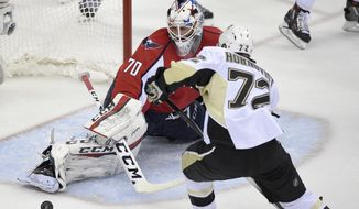 Washington Capitals goalie Braden Holtby (70) stretches for the puck during the second period of Game 5 in an NHL hockey Stanley Cup Eastern Conference semifinals against Pittsburgh Penguins right wing Patric Hornqvist (72), of Sweden, Saturday, May 7, 2016, in Washington. (AP Photo/Nick Wass)