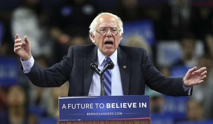Democratic presidential candidate, Sen. Bernie Sanders, I-Vt., speaks at a campaign rally Sunday, May 8, 2016 in Piscataway, N.J. (AP Photo/Mel Evans)