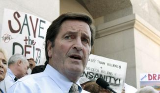 In this July 25, 2012 file photo, Rep. John Garamendi, D-Walnut Grove, speaks during a water project protest at the Capitol in Sacramento, Calif. (AP Photo/Rich Pedroncelli, File)