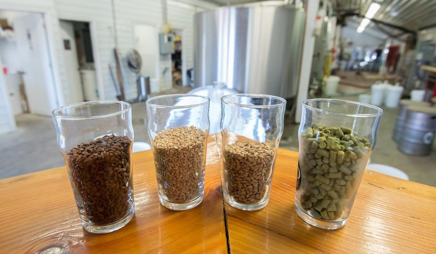 This Feb. 11, 2016 photo shows beer ingredients at 16 Mile Brewery in Georgetown, Del.  Pale chocolate malt, left, wheat malt, munich malt and hops in pellet form. (Jason Minto/The News Journal via AP)
