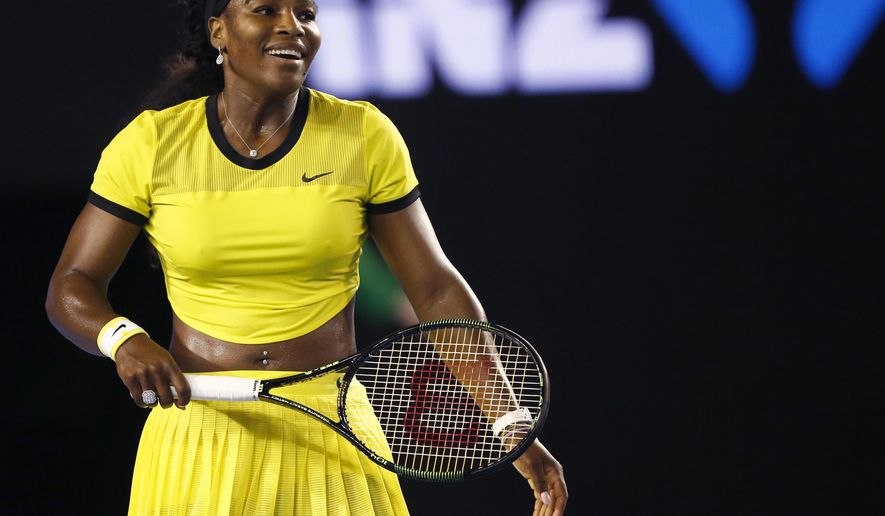 "FILE - In this Jan. 28, 2016, file photo, Serena Williams smiles during her semifinal match against Agnieszka Radwanska of Poland at the Australian Open tennis championships in Melbourne, Australia. Top-ranked Williams recounted Sunday, May 8, how she came to have a part in the Beyonce's video, ""Lemonade."" (AP Photo/Rafiq Maqbool, File)"