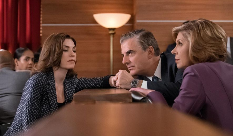 "In this image released by CBS, Julianna Margulies portrays Alicia Florrick, from left, Chris Noth portrays Peter Florrick and Christine Baranski portrays Diane Lockhart in a scene from ""The Good Wife,"" which aired on Sunday, May 1. After seven seasons, CBS will air the series finale on May 8. (Jeff Neumann/CBS via AP)"