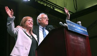 Jane O'Meara Sanders joins her husband, Democratic presidential candidate, Sen. Bernie Sanders, I-Vt., at a campaign rally, Monday, May 9, 2016, in Atlantic City, N.J. (AP Photo/Mel Evans) ** FILE **