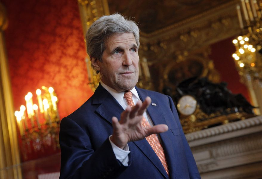 U.S. Secretary of State John Kerry speaks to journalists before a meeting with French Foreign minister Jean-Marc Ayrault, in Paris, Monday, May 9, 2016. Kerry has arrived in Paris for talks on the conflict in Syria. Representatives of Britain, Germany, Italy, Saudi Arabia, UAE, Qatar, Jordan, Turkey and the EU have also been invited in Paris Monday for a meeting in the presence of the Riad Hijab, head of the Western-backed Syrian opposition coalition, in an effort to relaunch the Syrian peace process.(AP Photo/Christophe Ena)