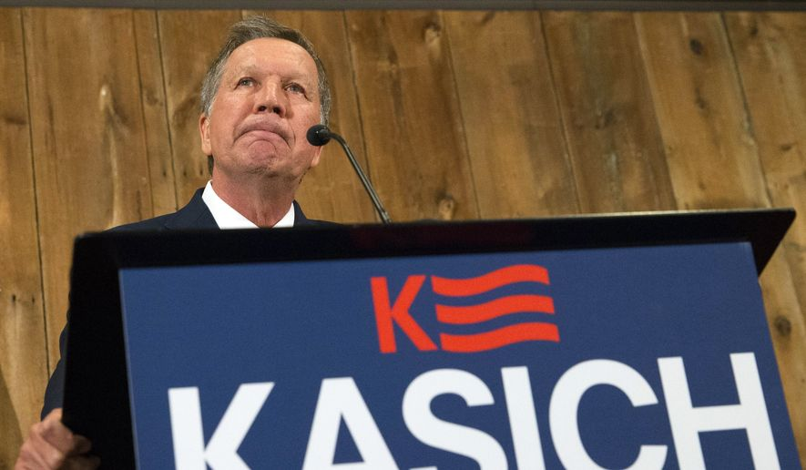In this May 4, 2016, file photo, Ohio Gov. John Kasich speaks at The Franklin Park Conservatory & Botanical Gardens in Columbus. Ohio. (AP Photo/John Minchillo, File)