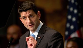 In this April 27, 2016, file photo, House Speaker Paul Ryan of Wis., gives a speech at Georgetown University in Washington. (AP Photo/Andrew Harnik File)